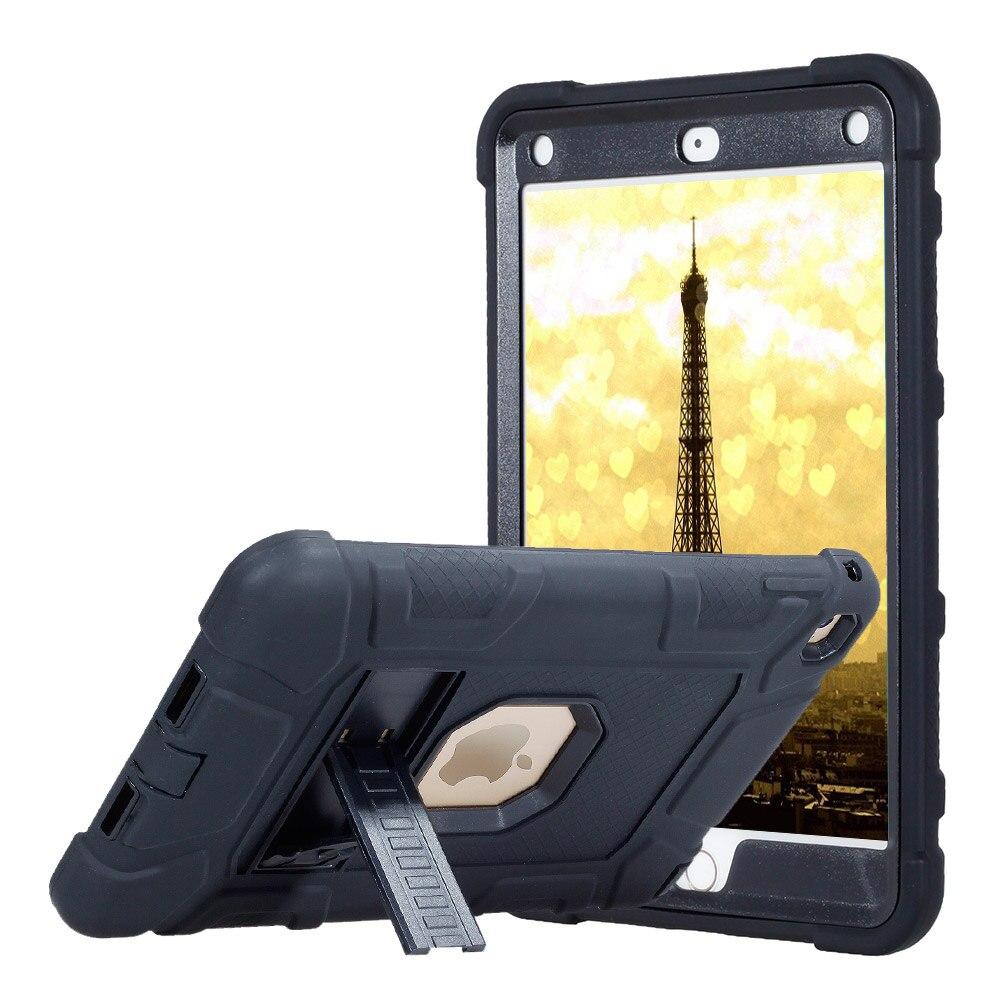 Para ipad mini 4 de borracha áspera armadura tablet caso capa crianças bebê seguro à prova de choque resistente silicone + pc caso duro com kickstand