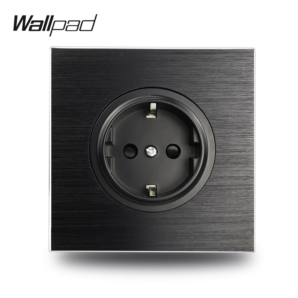 Wallpad L6 aluminio negro EU Schuko toma de corriente eléctrica de pared Metal satinado, 86*86mm