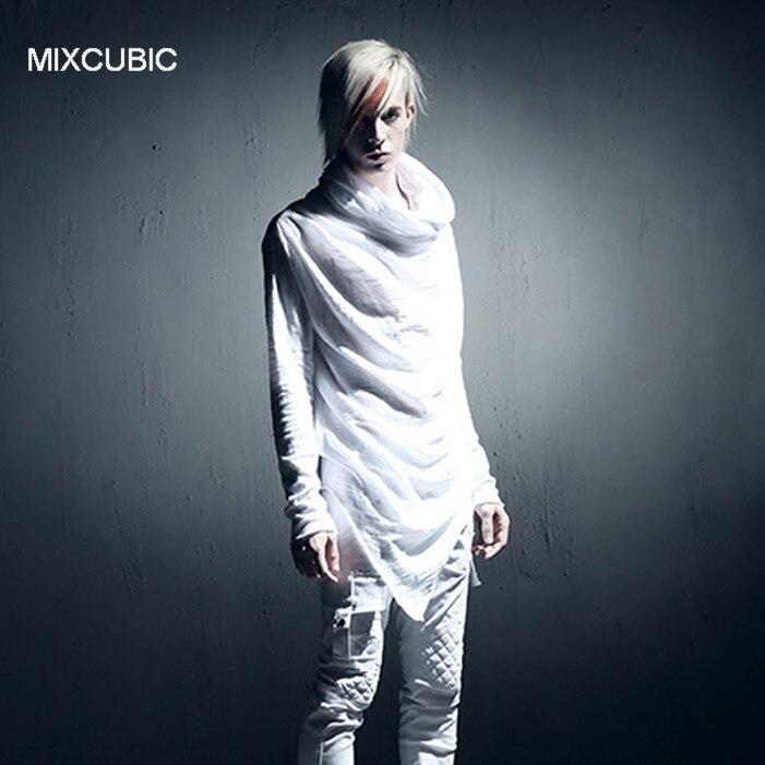 Мужской костюм с капюшоном MIXCUBIC, весенне-летняя футболка в стиле панк с длинным рукавом, Повседневная тонкая футболка с капюшоном для мужчин, M-XL