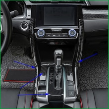 Estilo de coche Interior caja de engranajes Panel decorativo Trim para Honda Civic 2016 2017 LHD de cambio de engranaje de la cubierta de la caja de Trim panel pegatinas