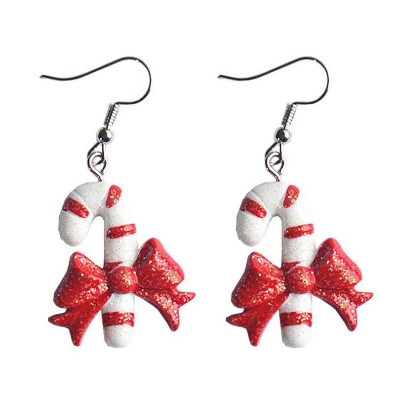 """DoreenBeads pendientes de gota de resina joyería de Navidad Color blanco rojo copo de nieve Santa Claus Xmas sombreros de árbol 5cm (2 """") de largo, 1 par"""
