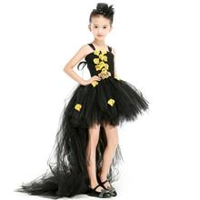 Or noir noël Halloween bébé filles robes or pétale Tutu robe avec Train Tulle Cosplay filles robe enfants robes de fête