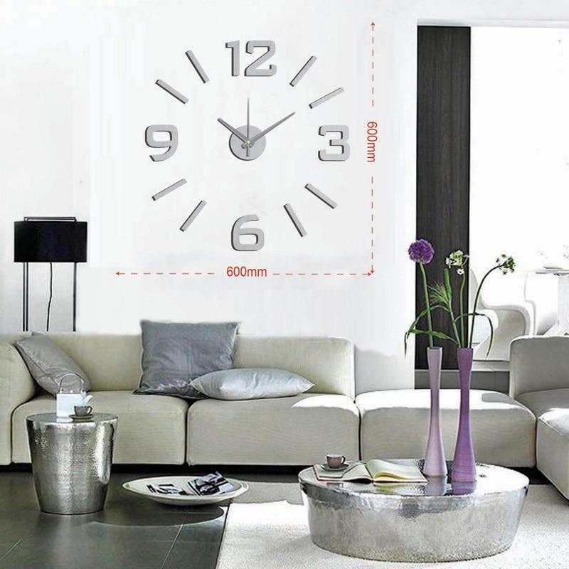 DIY Modern Fashion Creative Wall Clock Paste EVA Silver numeral Decoration Clock 60x60cm10EM101S