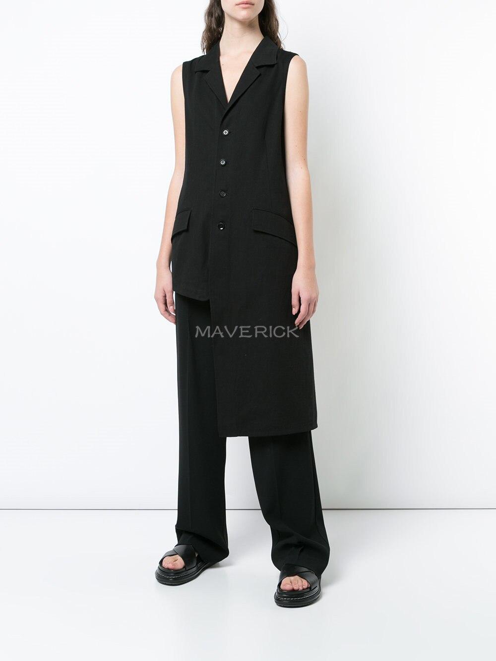 S-6XL!!2019 summer black high street irregularly tailored collar asymmetrical long waistcoat for both men and women.