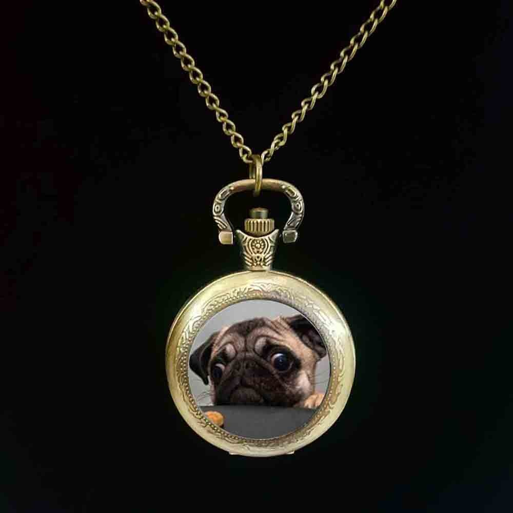 Wholesale Glass Dome Round pocket watch Animals Jewelry Pug pocket watch Dog Picture pocket watch Th
