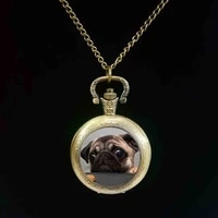 wholesale glass dome round pocket watch animals jewelry pug pocket watch dog picture pocket watch the best gift for dog lovers