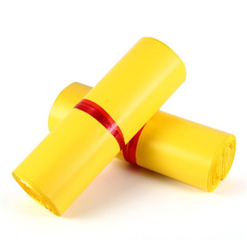 50 unids/lote bolsas de mensajería esmerilado amarillo auto-sello adhesivo correo bolsa de almacenamiento de bolsas de material envoltura Mailer Postal bolsa