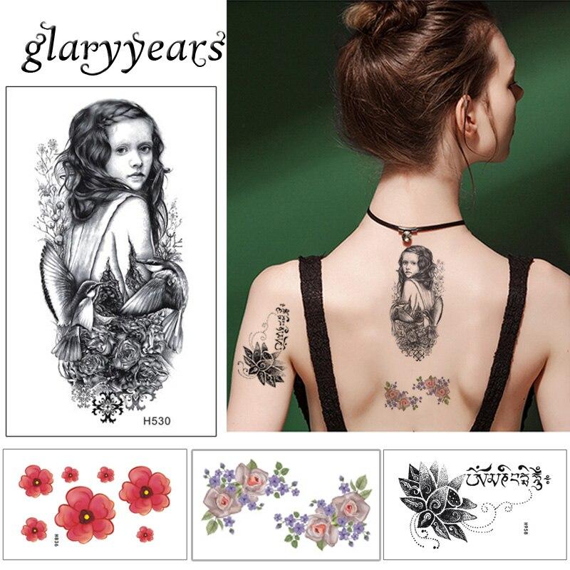 10*6cm glaryyears 5 unids/set pequeño las mujeres de la belleza tatuaje temporal Calcomanía para arte corporal flor sirena lindo de dibujos animados niños tatuaje H