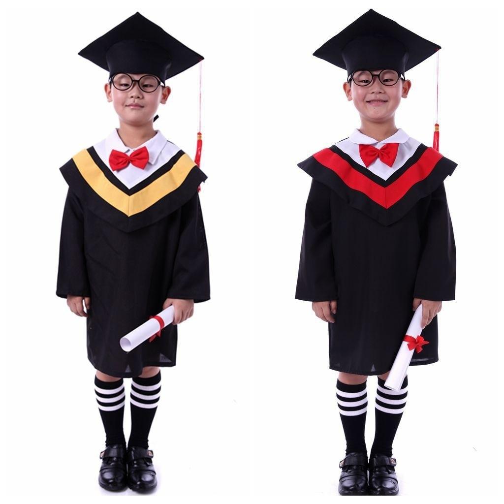 Atuendo de graduación negro para niños, sombrero y traje, conjunto de traje Unisex para niños