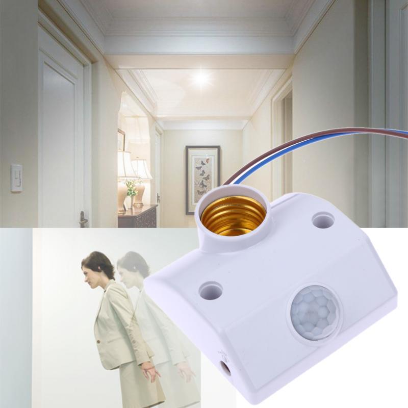Инфракрасный выключатель света с датчиком движения E27 AC220 50/60 гц автоматический держатель лампы интеллектуальный выключатель с датчиком движения с винтами