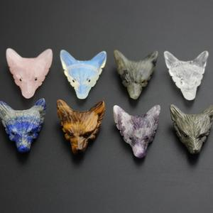 30x35mm,8 Kinds Stones Animal Accessory Jewelry,Raw Natural Mixed Stones Carved Wolf Head Healing Pendants Necklace XG-15AMAH
