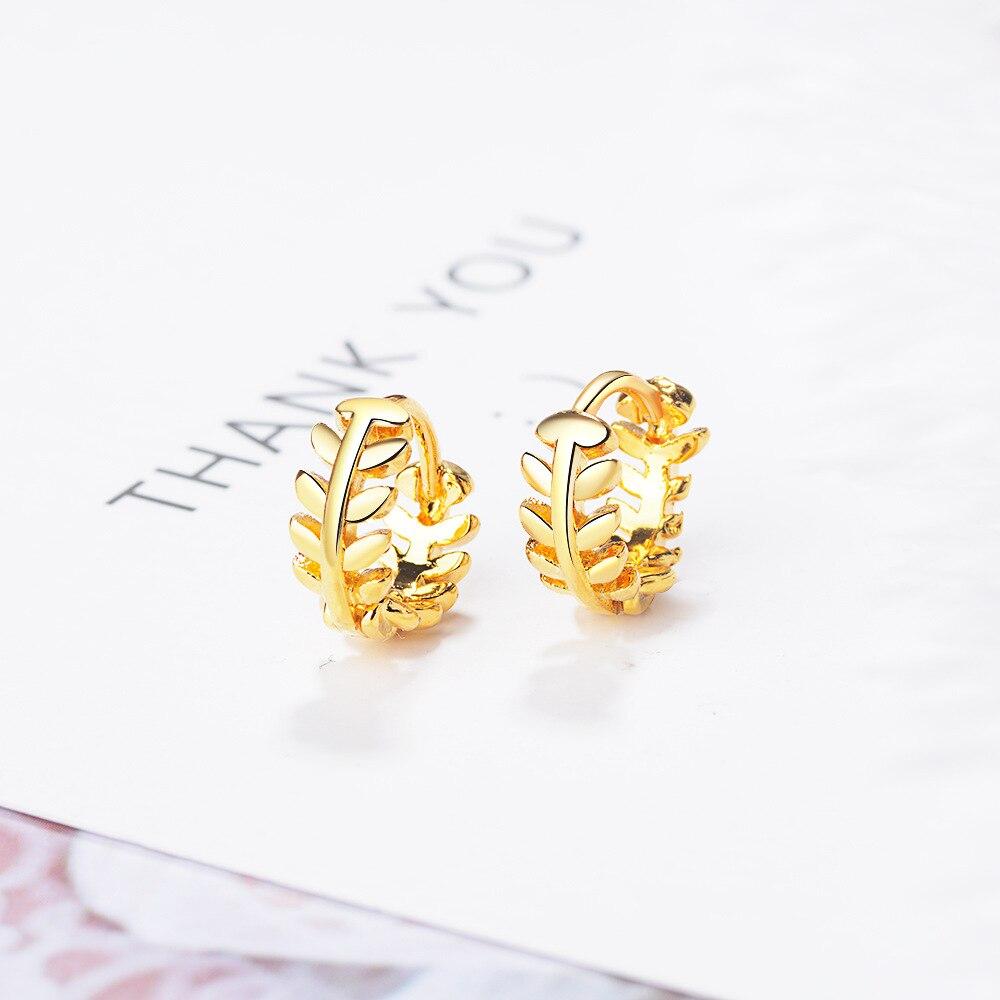 Classic Hoop Earring 925 Stamp Silver Color Leaf Design Earrings For Women Korean Jewelry 2020 New kolczyki