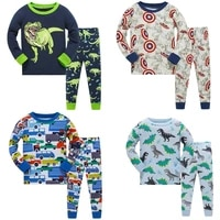 2021 children autumn pajamas clothing set boys cartoon dinosaur sleepwear suit set kids long sleevedpant 2 piece baby clothes