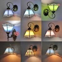 Mediterranean pastoral painted glass wall lamp living room corridor bedside lamp European creative LED wall lamp