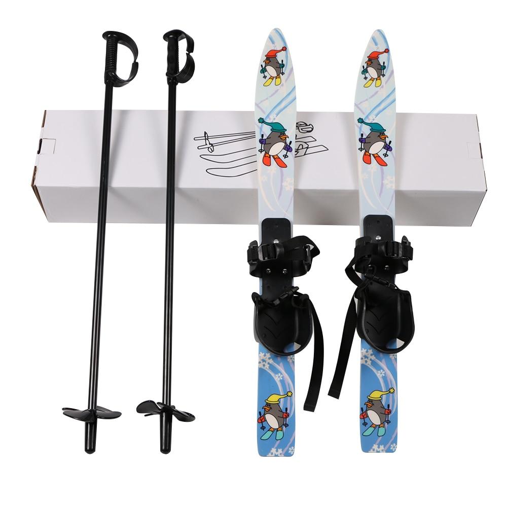Children Ski Board Snowboarding Sled Sleigh Binding Ski Poles for Kids Skiing Snowboard Gifts Winter Sports Set