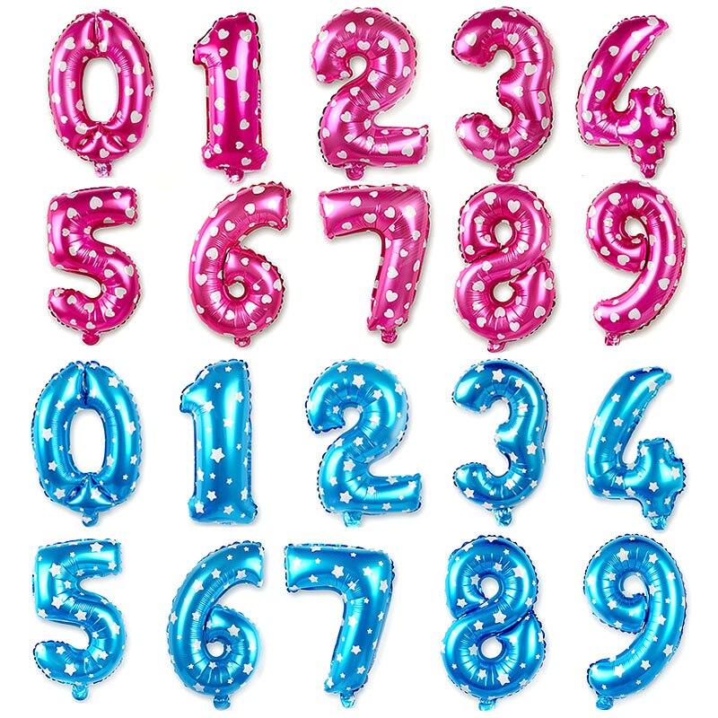 16/32 дюйма розовый и голубой номер из алюминиевой фольги Воздушные шары цифра