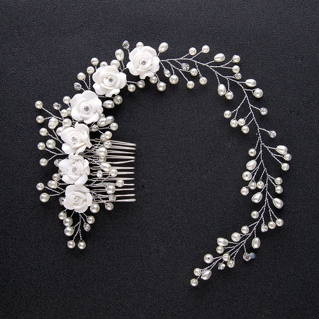 Bridal Wedding Crystal Bride Hair Accessories Pearl Flower Headband Handmade Hairband Beads Decoration Hair Comb For Women