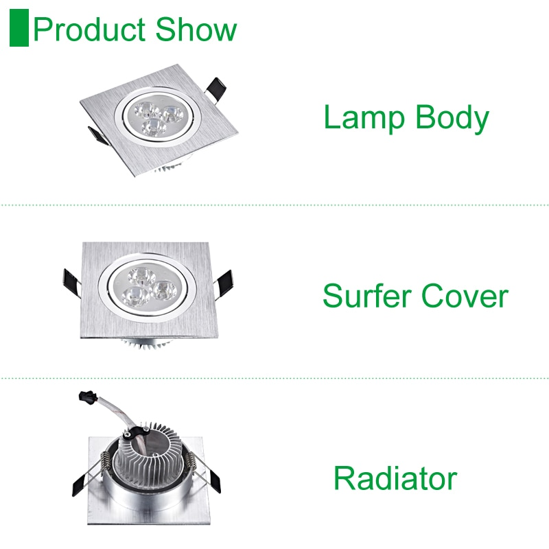 Led Downlights Square Recessed Spot Lamps 3W 5W 7w Dimmable Down Lights 110V  220V Home Lighting Aluminum Driver Included