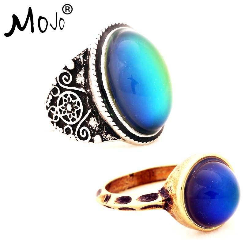 2 uds moda vintage Chapado en bronce Color anillos de humor cambiando de Color temperatura emoción sentimiento anillos para las mujeres/hombres