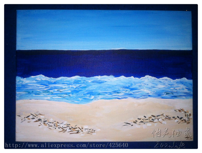 Pintura al óleo del Mar de la playa impresionista pintura al óleo del mar en lienzo de alta calidad pintura pintada a mano 5