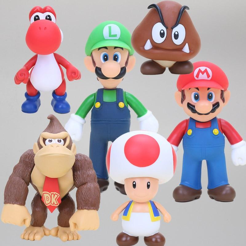 Figura de Super Mario Bros Luigi mario Koopa Yoshi de PVC modelo de figuras de acción juguetes de colección Donkey Kong muñeca para regalo de niños