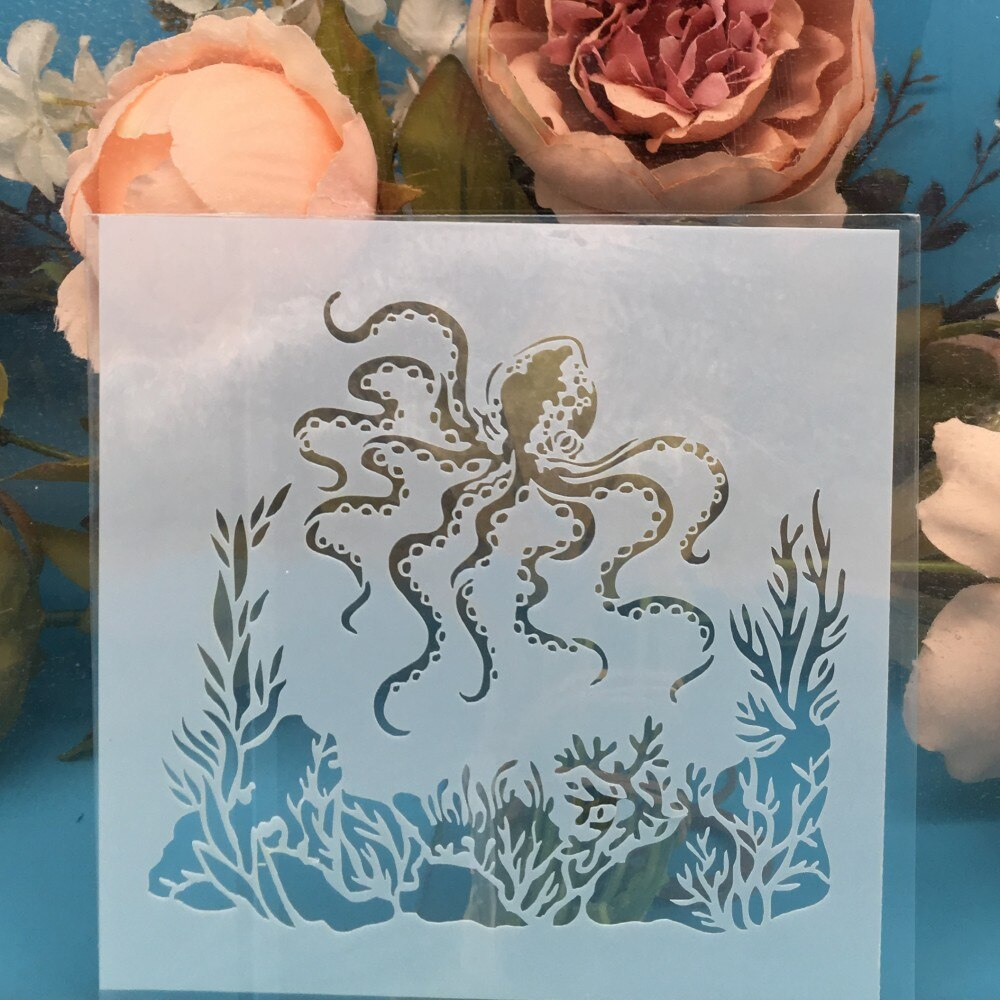 13cm Octopus DIY Craft esténciles de pared pintura álbum de recortes estampado gofrado de álbumes y tarjetas de papel plantilla