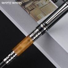 Stylos décriture de luxe noir-Orange serre-livres 675 argent fleur ambre celluloïd stylo plume bureau et fournitures scolaires