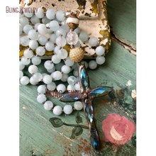 Массивный простой черный спаянный крест кулон ручной узел ожерелье из синего бисера уникальный аксессуар NM14560