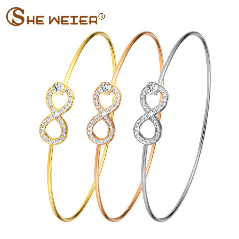 Pulseras y brazaletes de acero inoxidable de moda SHE WEIER para mujer, brazalete infinito, pulsera de circón, oro rosa, pulsera de oro