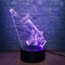 New 3D Lamp Cool Battle Royale Game PUBG TPS SCAR-L 7 Color Change Desk Table LED Night Light Illusion Boy Kid Christmas Gift