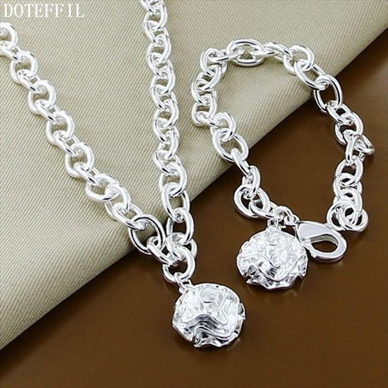 DOTEFFIL 925 Sterling Silver Rose Flower 18 pulgadas Chian collar 8 pulgadas pulsera Set para mujeres boda compromiso fiesta joyería