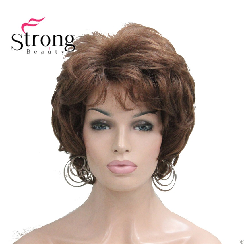 StrongBeauty corto suave Tousled rizos peluca Auburn, marrón oscuro pelucas sintéticas completas para mujeres