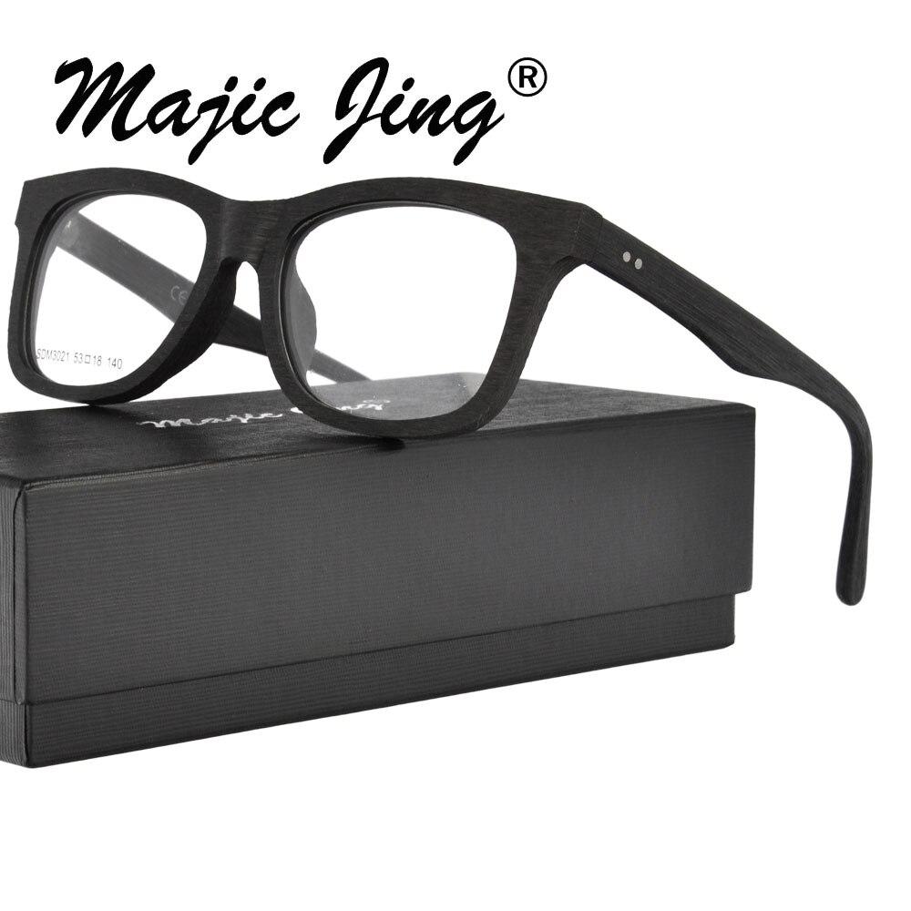 Magic Jing imitación de madera elegante como acetato cuadrado gafas de miopía gafas graduadas para hombres SDM3021