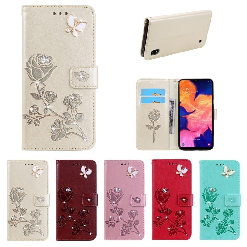 3D DIY Bling caja de teléfono de cuero para Samsung galaxy A10 M10 M40 A40 A20 A30 A50 A70 A20E A2 Core A9 A7 2018 A60 suave cubierta posterior