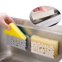 Evier mural en plastique  1 piece  ventouse  support de rangement pour porte-savon  etagere de sechage deponge  organisateur de salle de bain Kintchen