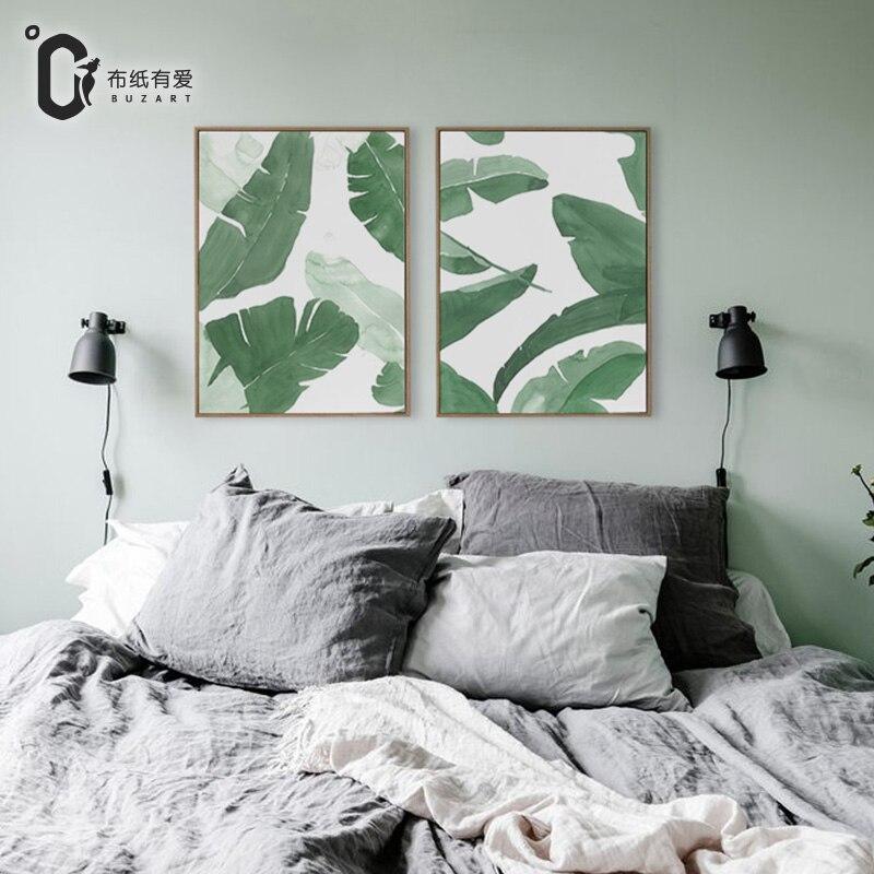 Estampado de arte en lienzo moderno con hojas de plátano verde estilo Gouache para sala de estar y dormitorio sin marco