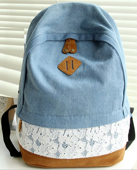 Mochila De tela de mezclilla de encaje fresco de moda para mujer mochila escolar chica adolescentes bolsos casuales mochila