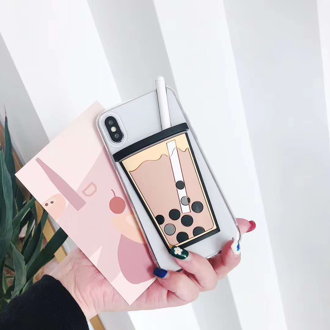 Coreano bolha tea3d caso de telefone para iphone6 6s7 8 plus coque fundas silicone macio tpu capa traseira para iphonex xs max xr casos capa