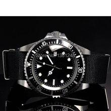 42mm parnis black sterile dial luminous marks date window vintage SEA automatic movement fabric nylon strap mens watch P10