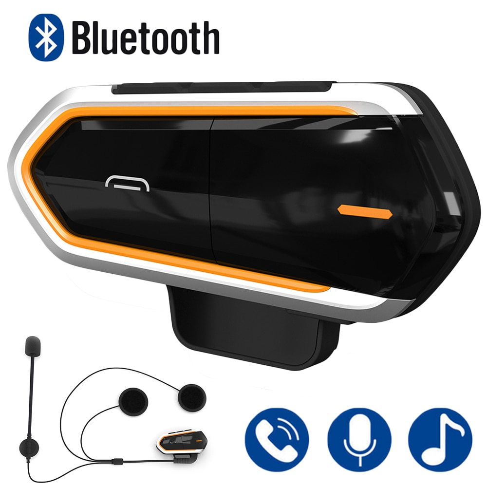 Motorcycle Intercom Helmet Headsets Wireless Bluetooth Interphone Handsfree Waterproof Headset FM Radio Moto Headphone With Mic