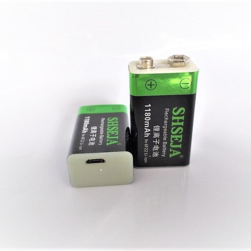 100% V li-ion de lítio li-po 1180mWh 9 9V BATERIA recarregável bateria recarregável USB