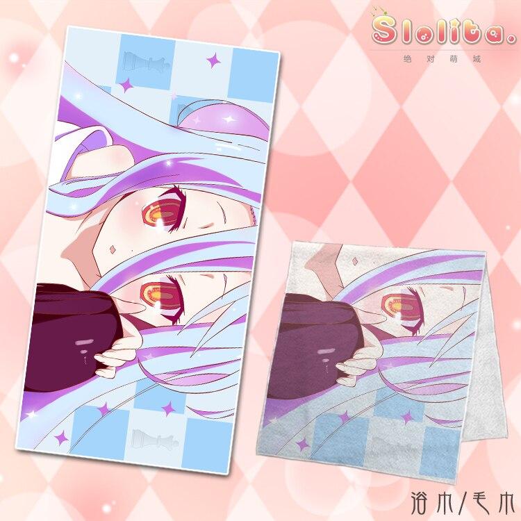 Toalla de microfibra de Anime sin juego sin vida Shiro Toalla de baño de cuerpo playa Toalla de microfibra Toalla de toalla 70*35/140*70cm para niños adultos