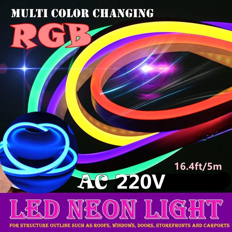 Tira conduzida 220v sinais de néon led pc rgb fita smd2835 tiras ruban etanche el fita néon luz flexível bande 5m fase luzes de fadas