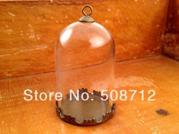 Colgante de botella de cristal transparente Cloche, Base de bronce antigua y botella terrario superior, suministros de joyería