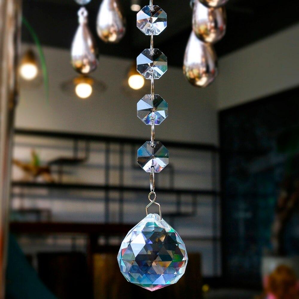 H & D cristal Suncatcher octogone perles arc-en-ciel fabricant suspendu lustre boule prismes goutte 30mm maison mariage décoration accessoires
