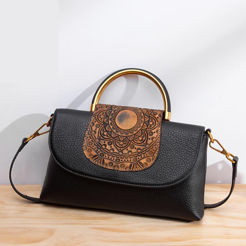 Johطبيعة-حقيبة يد جلدية أصلية عتيقة للنساء ، حقيبة حمل ، حقيبة حمل ، حقيبة كتف ، تصميم هندسي ، سحاب ، متعدد الأغراض ، 2021