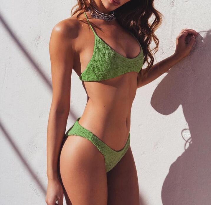 Bikini de playa, bañador, bañador, conjunto de Bikini, Bralette ahuecado, Brasilero sexi, de cintura baja, de color liso, con relleno, plisado