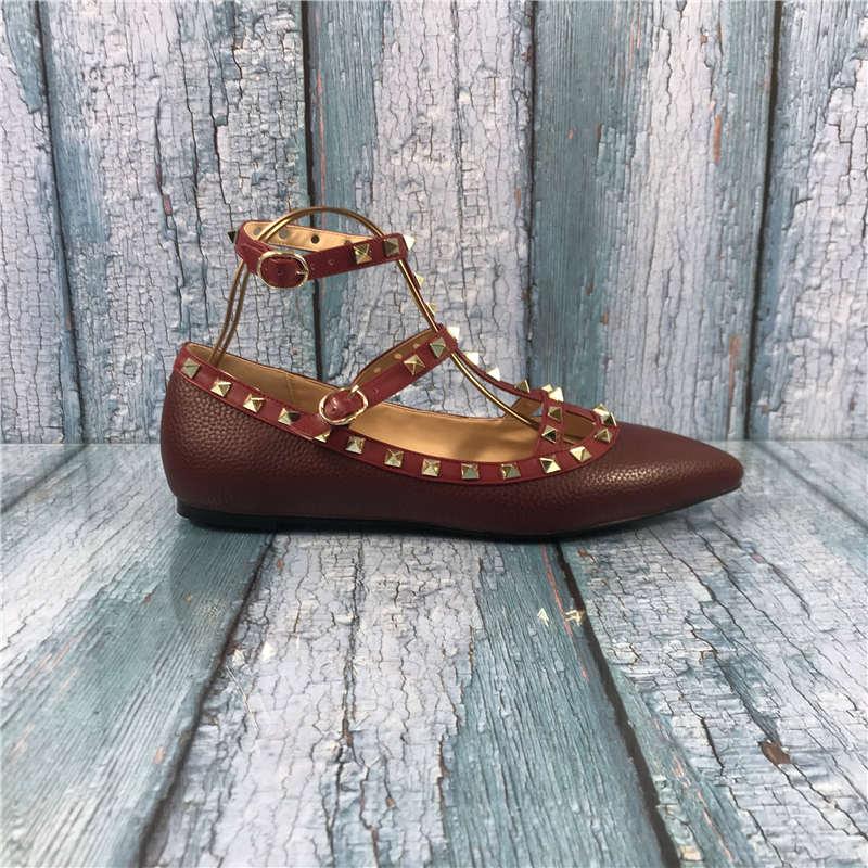 Kmeioo nova moda eua tamanho 5-15 sapatos femininos rebites apartamentos salto plano dedo do pé apontado gladiador rebites tiras mocassins planos sapatos