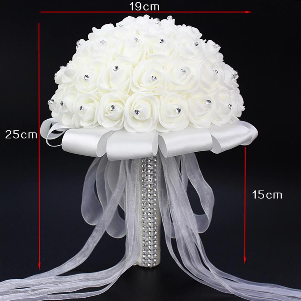 Umjetni vjenčani buketi s ručno izrađenim cvijetom ruže od - Vjenčanje pribor - Foto 4