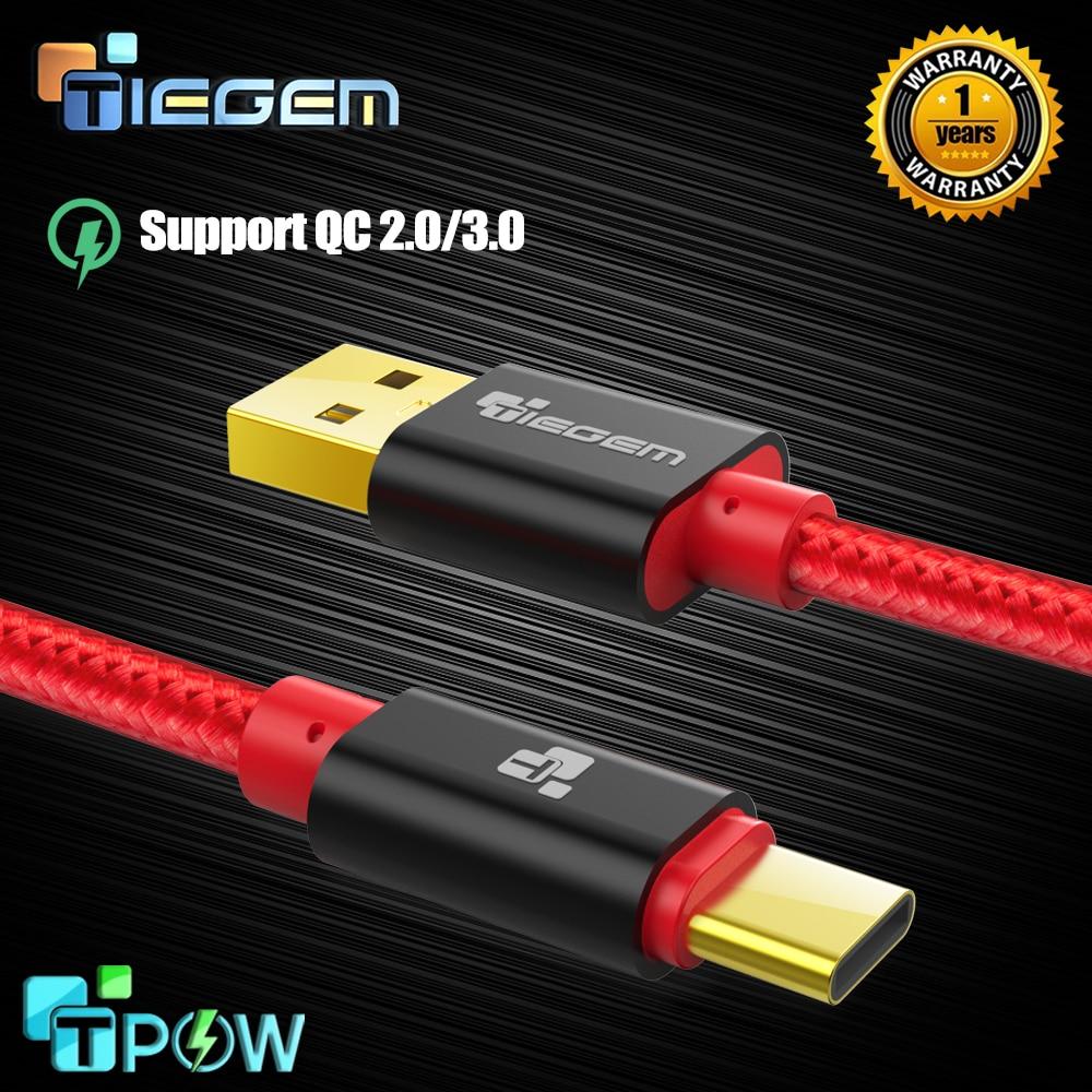 Tiegem, USB tipo C de carga rápida, cable usb c tipo c 3,1, cable de datos, cargador de teléfono para Samsung S9 S8 Note 9 8 pocophone F1 Xiaomi
